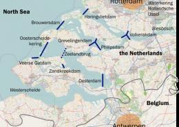 Karte zeigt im Delta errichtet Dämme, zur Verfügung gestellt von Classical Geographer
