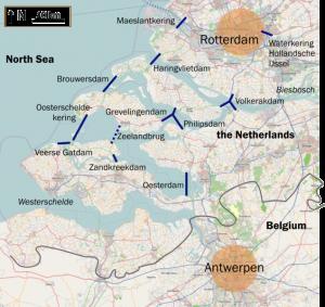 Karte zeigt im Delta errichtet Dämme gegen die Sturmflut in den Niederlanden, zur Verfügung gestellt von Classical Geographer