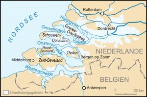 Karte, die die Sturmflut in den Niederlanden zeigt, zur Verfügung gestellt von Lancer