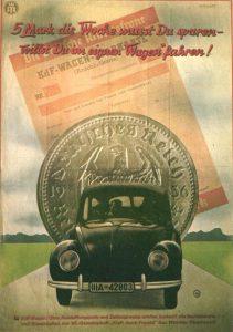 Werbeplakat für Volkswagen, angekündigt durch Hitler