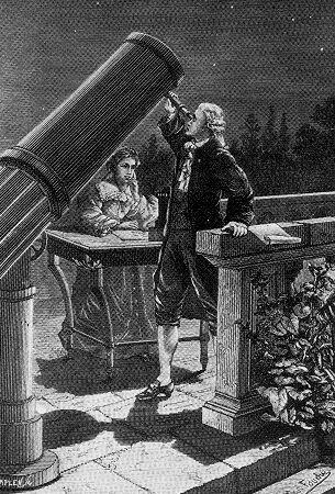 Friedrich Wilhelm und Caroline Lucrezia Herschel bei der Entdeckung des Uranus.